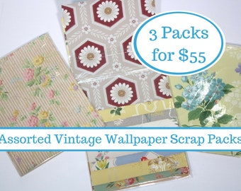 Assorted Vintage Wallpaper Collage Packs! Grab Bag Surprise of 3 packets of 12 Precut Sheets of Vintage Wallpaper Scraps (36 sheets total)