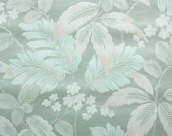 1950s Vintage Wallpaper by the Yard - White and Green Leaves on Pearly Green