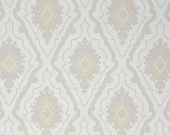 1950s Vintage Wallpaper by the Yard - Southwest Geometric Taupe Yellow and Cream