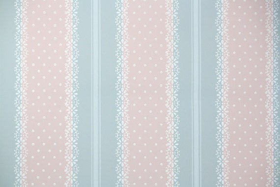 1940s Vintage Wallpaper By The Yard Blue And Pink Lace