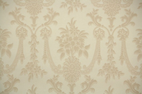 1940s Vintage Wallpaper By The Yard Tan And Cream Victorian Damask