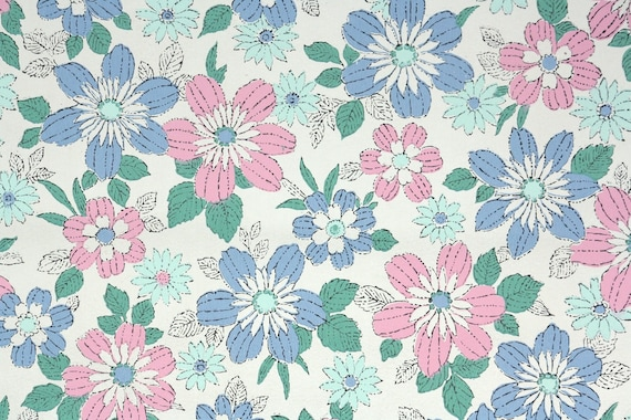 1960s Vintage Wallpaper By The Yard Pink And Blue Daisy
