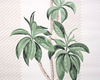 1950s Vintage Wallpaper by the Yard - Large Green Leaves on Stripe