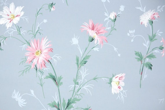 1940s Vintage Wallpaper Pink And White Daisies On Blue Etsy