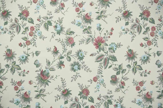 1940s Vintage Wallpaper By The Yard Floral Wallpaper Pink And Blue Chintz
