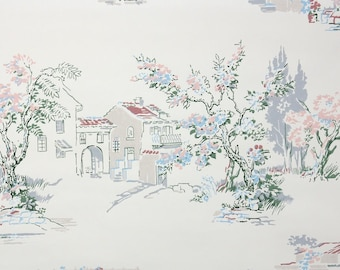 1950s Vintage Wallpaper by the Yard - Mediterranean Garden Scenic