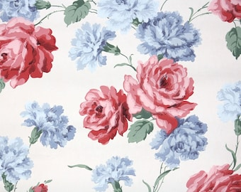 1940s Vintage Wallpaper by the Yard - Floral Wallpaper with Large Red Roses and Blue Carnations on White