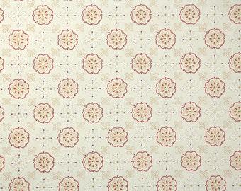 1950 ' s Vintage Wallpaper - rose et jaune géométrique sur fond blanc