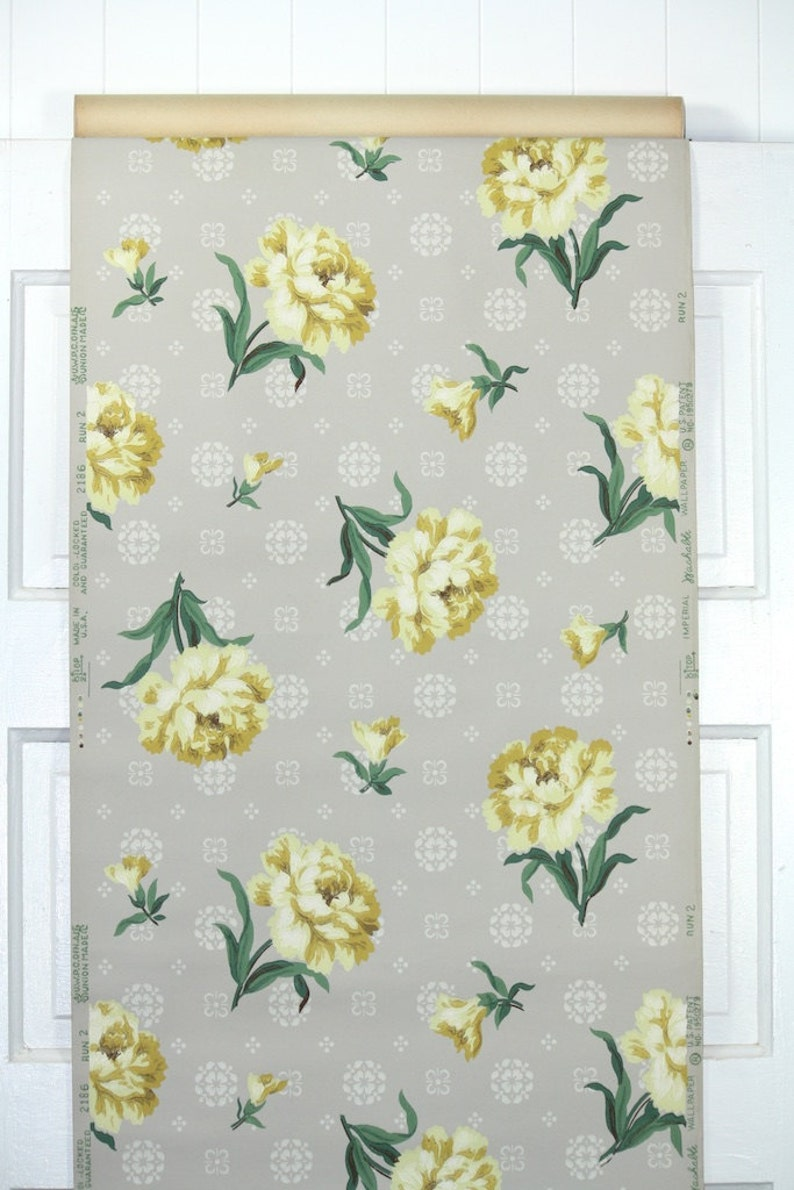1940s Vintage Wallpaper By The Yard Yellow Carnations On Etsy