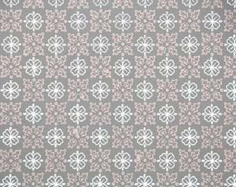 1940s Vintage Wallpaper by the Yard - Pink and White Geometric on Gray