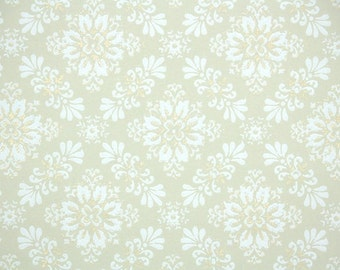 1940s Vintage Wallpaper by the Yard - Metallic Gold and White Geometric