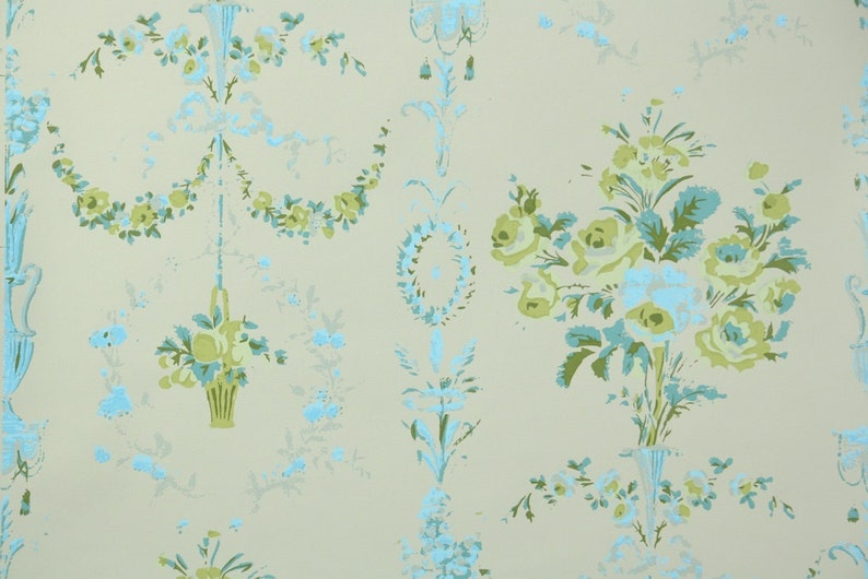 1950s Vintage Wallpaper By The Yard Victorian Floral Design With Vases Of Roses In Blue And Green