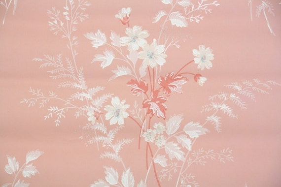 1940s Vintage Wallpaper By The Yard Floral Wallpaper White Daisies On Pink