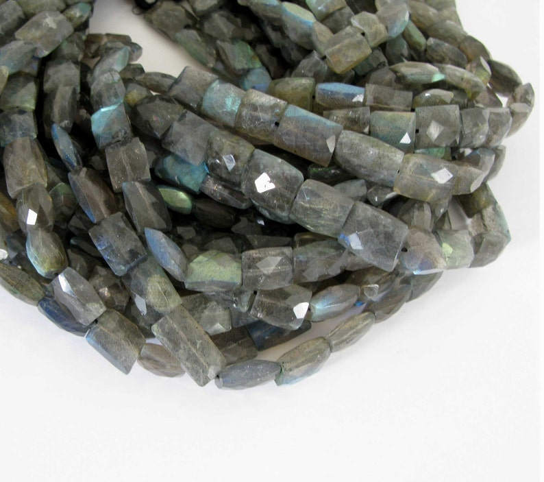 7 Strand Half Strand Labradorite Beads Genuine Faceted Labradorite Rectangle Beads Lab205 Labradorite Beads