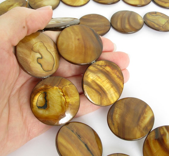 40mm Oyster Shell Beads She215 Full Strand Golden Brown Shell Beads Large 40mm Coin Focal Beads