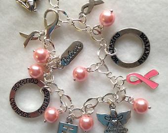FREE Ship! Breast Cancer Charm Bracelet. Cancer Survivor. Pink Ribbon Cancer Charm Bracelet  BC 04