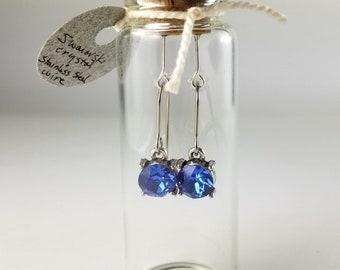 Swarovski sapphire blue drop earrings in gift bottle