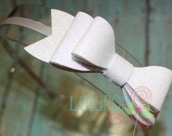 White Glitter Bow Headband ~ Felt Bow Headband ~ Glitter Bow Headband ~ Headband