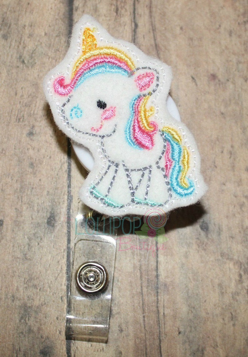 Full Body Unicorn Felt Badge Reel, Unicorn Badge Reel, Felt Badge Reel, ID  holder, work id holder, work id badge, badge holder, badge reel