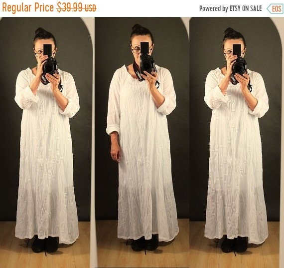 438bf76f056 ON SALE NOW Womens Loose Fitting Linen Cotton White Maxi Dress