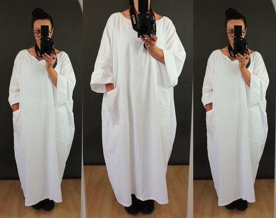 b41b4abb51b Casual Oversized Baggy Long Maxi White Linen Dress Plus Size