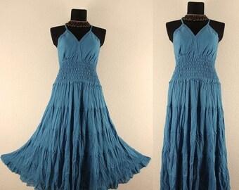 ON SALE NOW Long Turquoise Gypsy Princess Dress Smock Maxi Hippie Boho Size 16 18 20 Gothic blue 2X