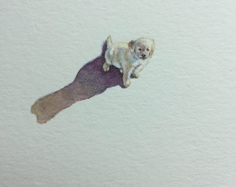Miniature Painting of a golden retriever puppy by Brooke Rothshank