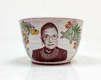 Handmade bowl featuring Ruth Bader Ginsburg