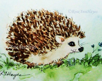 ACEO Miniature Original watercolor painting cute Black white Badger Mother baby Animal Nursery drawing wildlife fine art gift