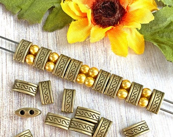 Rectangle Spacer Beads, 2-Hole, Matte Antique Bronze Plated, About 10mm x 5mm with 1.75mm holes, US Seller, Ships from USA   315R