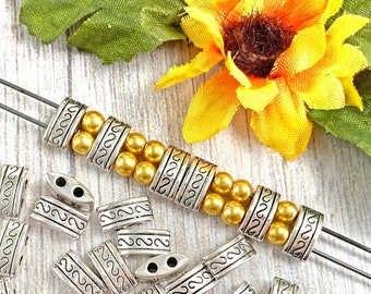 Double Hole Spacer Beads, Shiny Antique Silver Plated, About 10mm x 5mm with 1.75mm holes, US Seller, Ships from USA | 310R