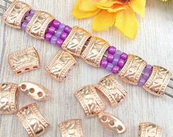 3-Hole Rectangle Spacer Beads, Rose Gold Plated, About 11mm x 8mm with 1.6mm holes, US Seller, Shipped from USA - 118R