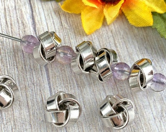 Silver Knot Beads, Real Platinum Plated Brass, Rondelle, About 12mm x 7.5mm with a 2.5mm Hole, US Seller, Fast Shipping from USA - 215R