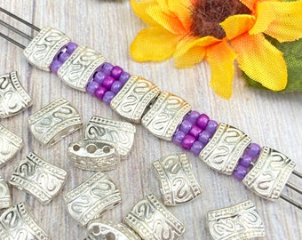 24pcs Flat 3-Hole Spacer Beads, Bright Silver Plated, Bali Style, About 11mm x 8mm with 1mm holes, US Seller, Shipped from USA - 318R