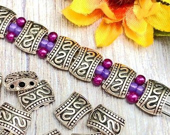 Flat 3-Hole Spacer Beads, Antique Silver Plated, Bali Style, About 11mm x 8mm with 1mm holes, US Seller, Ships from USA - 308R