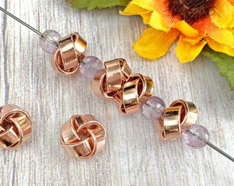 Rose Gold Knot Beads, Real Rose Gold Plated Brass, Rondelle, About 12mm x 7.5mm with a 2.5mm Hole, US Seller, Ships from USA - 217R
