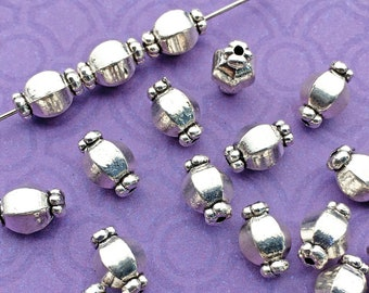 Barrel Beads, Christmas Candy Shape, Antique Silver Plated, About 10mm x 6mm, with a 1mm hole, US Seller, Shipped from USA | 503R