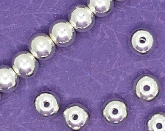 50pcs 6mm Smooth Round Beads, Antique Silver Plated, About 5mm x 6mm with a 1.4mm hole, US Seller, Ships from USA  - 710R