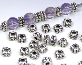 Bumpy Squaredelle Spacer Beads, Antique Silver Plated, Bali Style, About 3mm x 4.5mm, with a 2mm Hole, US Seller, Shipped from USA | 912R