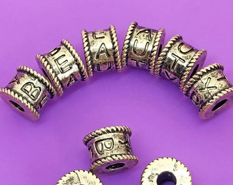 6pcs Big Hole Drum Beads, Antique Gold Tone, about 7.75mm x 10.75mm, 4mm Hole, US Seller, Ships from USA - TS205R