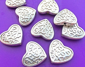 6pcs Large Puff Heart Beads, Antique Silver Plated, about 17mm x 18mm with a 1.5mm Hole, US Seller, Shipped from USA - 210B