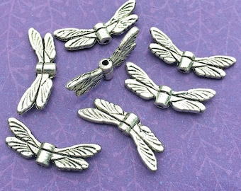 Dragonfly Wing Beads, Antique Silver Plated, About 20mm Wide by 7mm High with a 1mm Stringing Hole, US Seller, Ships from USA | 100R