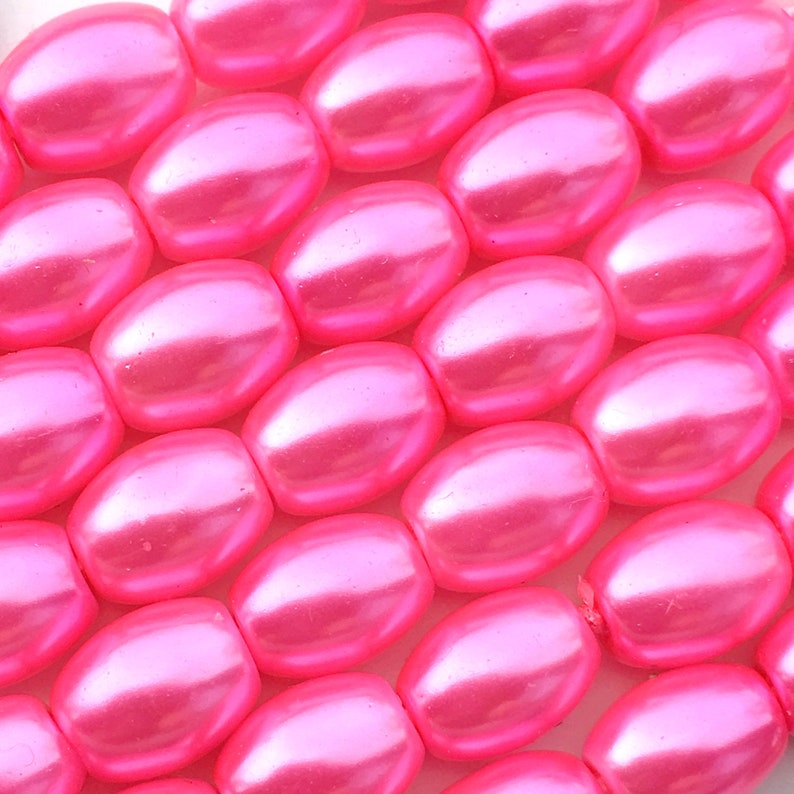 50 Magenta Pink Glass Pearl Beads About 8mm x 6mm Barrel Oval image 0