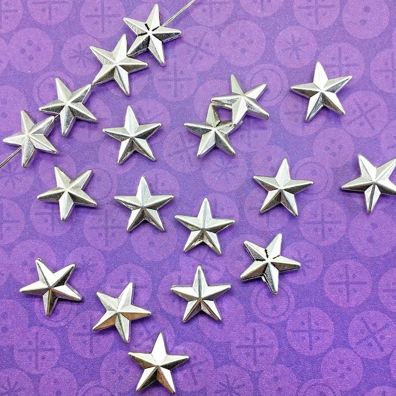 18pcs Five Pointed Star Beads Antique Silver Plated About image 0