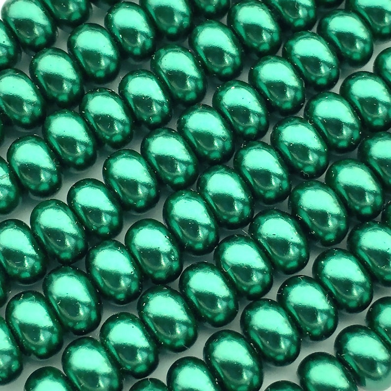 120 Dark Green Glass Pearl Beads About 3mm x 5mm Rondelle image 0