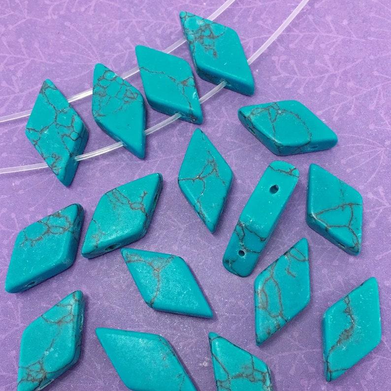 8 Imitation Turquoise Beads Diamond Shape 2 Hole Double image 0