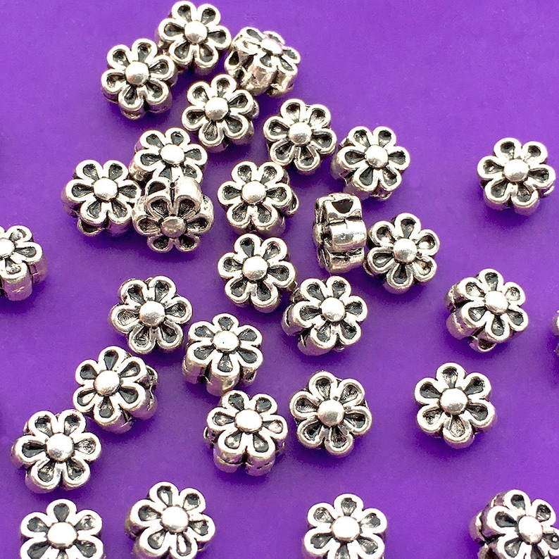 34 Flower Beads Antique Silver Plated About 6.5mm x 4mm with image 0