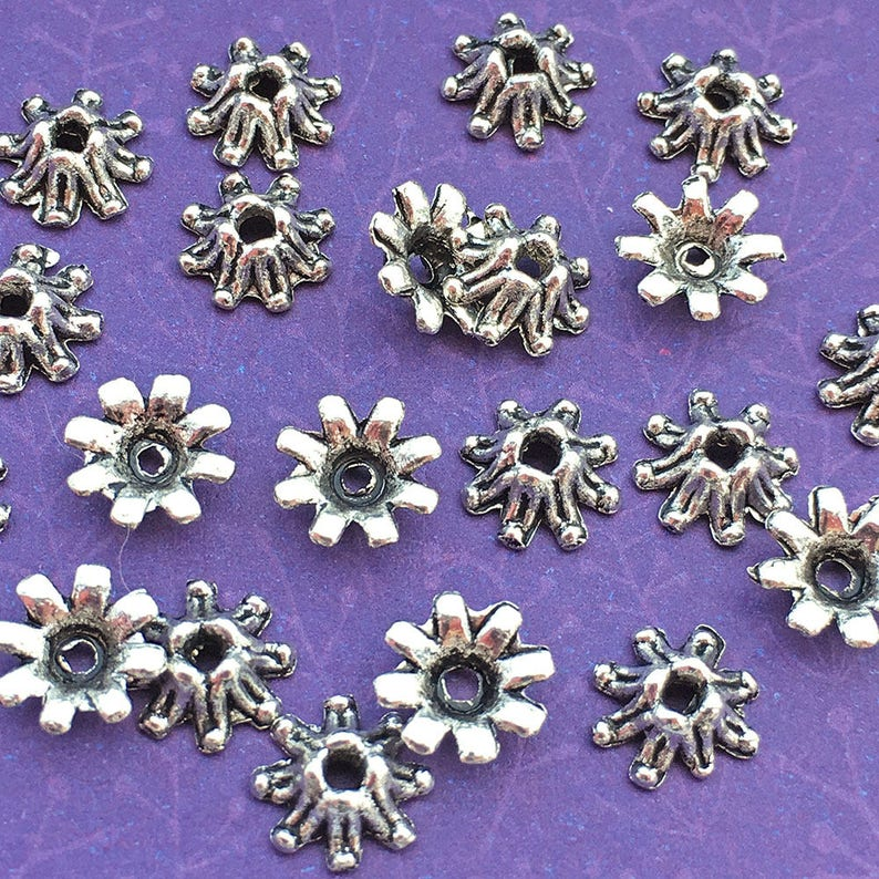 32 Flower Bead Caps Antique Silver Plated Bali Style About image 0