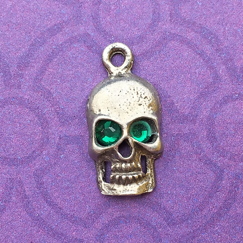 Handmade Skull Charm with Emerald Green Crystal Eyes May image 0