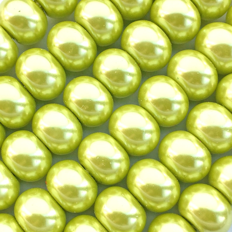 66 Spring Green Glass Pearl Beads About 6mm x 8mm Rondelle image 0